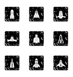 Types of rocket icons set grunge style vector image