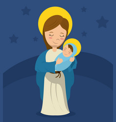 Virgin mary and child jesus blue background vector