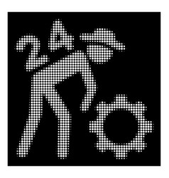 white halftone nonstop working person icon vector image
