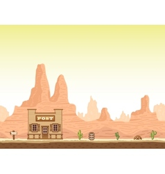Wild old west canyon background with post vector image