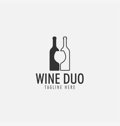 wine duo logo design template isolated vector image
