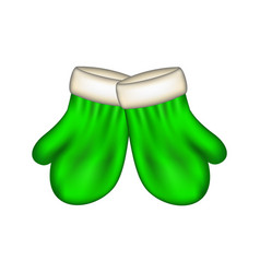 Winter mittens in green design vector