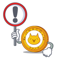 with sign monacoin character cartoon style vector image