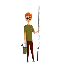 young man with glasses fishing rod and a bucket vector image
