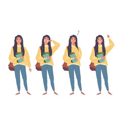 young women in casual clothes with backbackpacks vector image