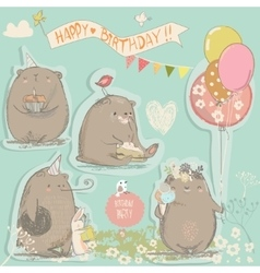 birthday set with cute bears vector image vector image