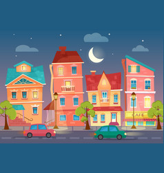 cartoon city street at night street lights vector image vector image