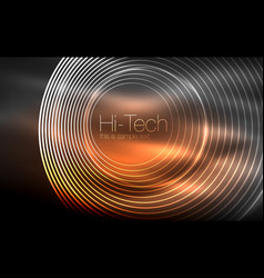 Circular glowing neon shapes techno background vector