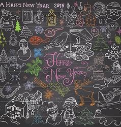 Hand drawn Sketch design of happy new year 2016 vector image vector image
