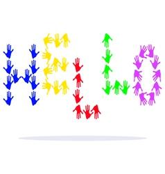Hand prints hello vector image