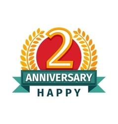 Happy second birthday badge icon vector