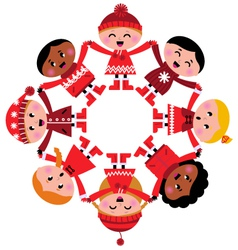 happy multicultural winter kids holding hands vector image
