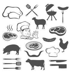 Meat and set of tools vector image