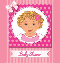 Postcard of baby shower with cute nice girl on vector