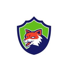 Red Fox Head Growling Shield Retro vector image vector image