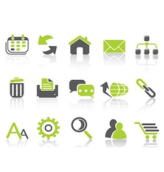 web internet icons green series vector image vector image