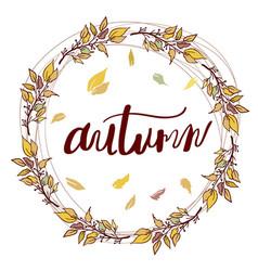 autumn frame calligraphy season banner card vector image vector image