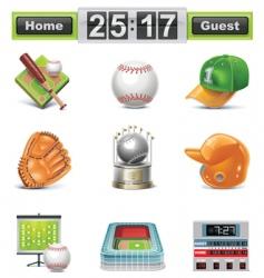 baseball softball icon set vector image vector image