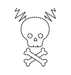 dotted shape skull with bones to dander symbol to vector image vector image