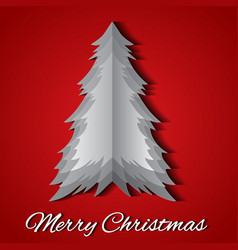 greeting card with origami christmas tree and vector image vector image