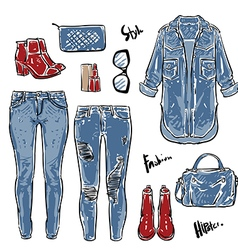 Hand drawn fashion Collection of womens jeans vector image vector image