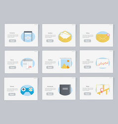 website and mobile flowcharts with icons vector image