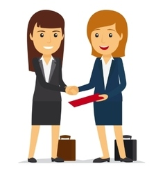 Business women shaking hands vector image