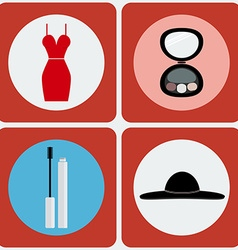 Feminine Beauty colorful icon set vector image vector image