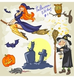 Halloween Witches - 2 Hand drawn collection vector image vector image