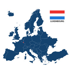 map of europe with highlighted luxembourg vector image