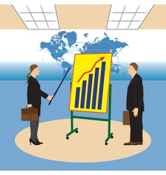 Meeting two businessmen Presentation of the work vector image vector image
