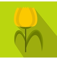 Yellow tulip icon flat style vector image