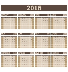 2016 Calendar week starts from Sunday vector image