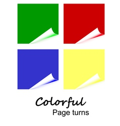 4 colorful page curls vector image