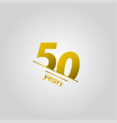 50 years anniversary celebration gold line vector