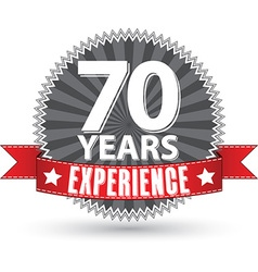 70 years experience retro label with red ribbon vector