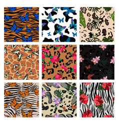 a set animalistic prints combined with plant vector image