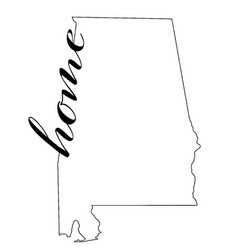 alabama state map outline with home vector image