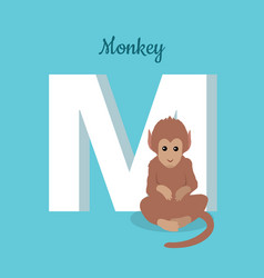 animals alphabet letter - m vector image