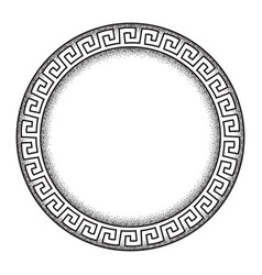 Antique greek style meander ornanent dot work vector