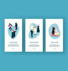 arab family vertical banners vector image