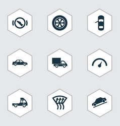 Automobile icons set includes icons such as vector