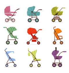 Baby stroller set different types of kids vector