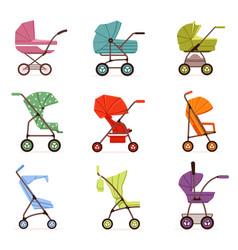 baby stroller set different types of kids vector image