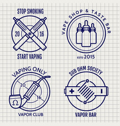 Ball pen vape shop logo set vector