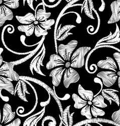 Black and white hibiscus tropical embroidery vector image