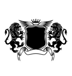 black sign with lions and a shield vector image
