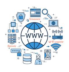 Blue round www internet concept vector
