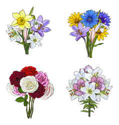 Bouquets bunches of hand drawn wild and garden vector