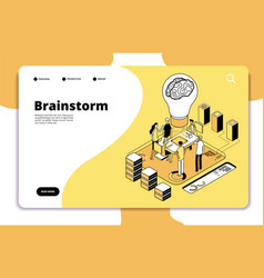 Brainstorm landing page business people launching vector